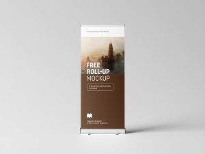 Free Realistic Roll-Up Banner Mockup