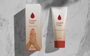 Free Shadow Cream Tube & Box Packaging Mockup