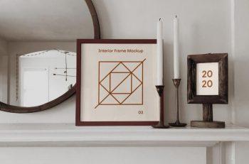 Free Square Interior Frame (PSD) Mockup