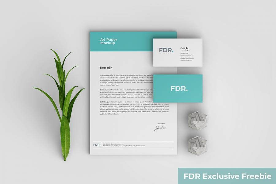 Free Top View Stationery Mockup With Scene Generator