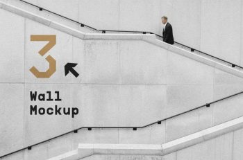 Free Wall with Stairs Mockup