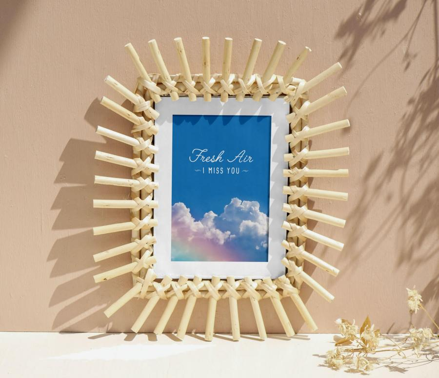 Free Wooden Sticks Photo Frame Mockup