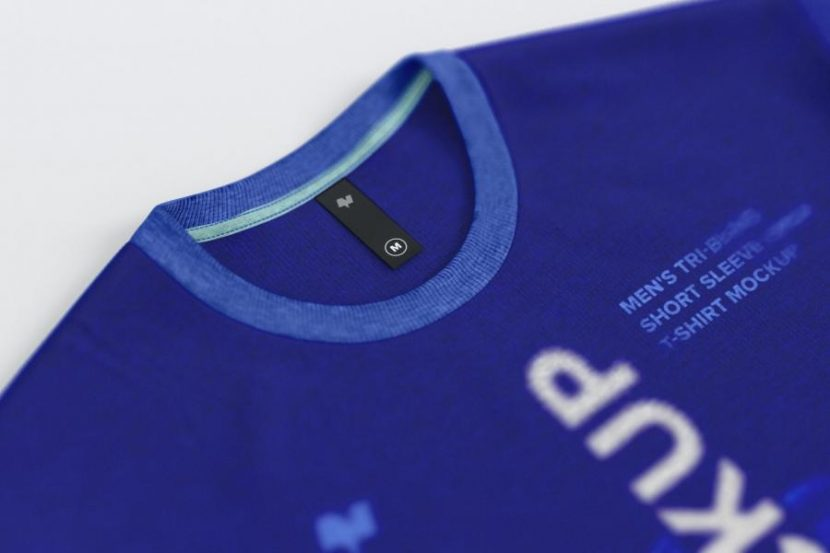 Thin Label on Men's Rounded Neck T-Shirt Mockup