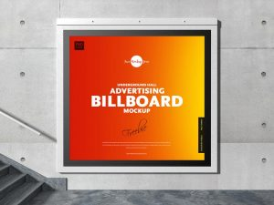 Underground Hall Advertising Billboard Free Mockup