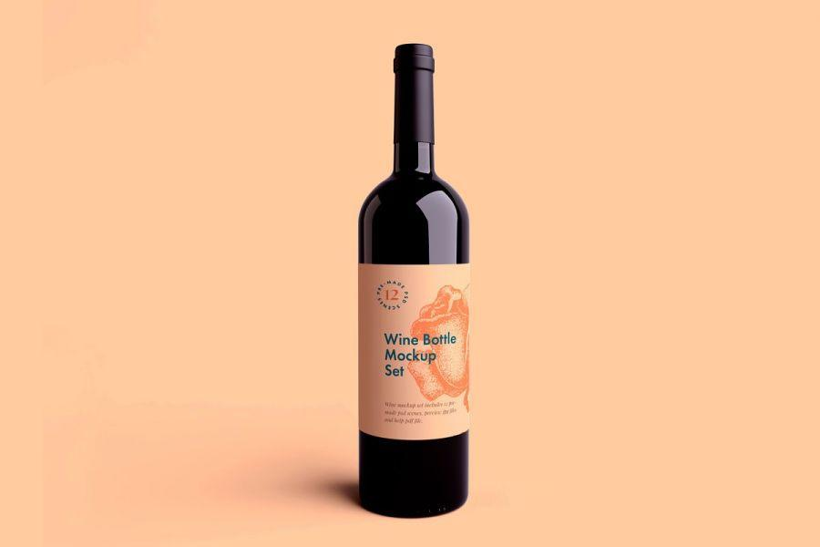 Wine Bottle Free Mockup Set