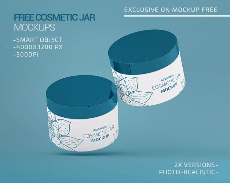2 Plastic Cosmetic Jar Free Mockup (PSD)