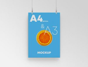 A3 Hanging Poster Free PSD Mockup
