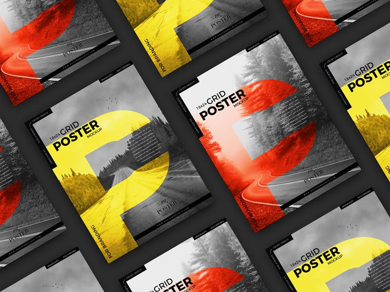 Advertising 18×24 Grid Poster Free Mockup