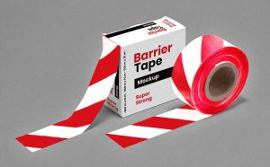 Barrier Barricade Tape Box Free Mockup (PSD)
