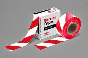 Barrier Barricade Tape Box Free Mockup (PSD)