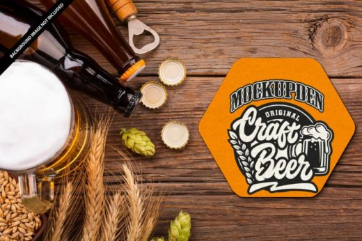 Beer Coaster Free Mockup PSD Template
