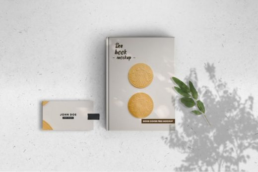 Book Cover & Card Free Mockups Template