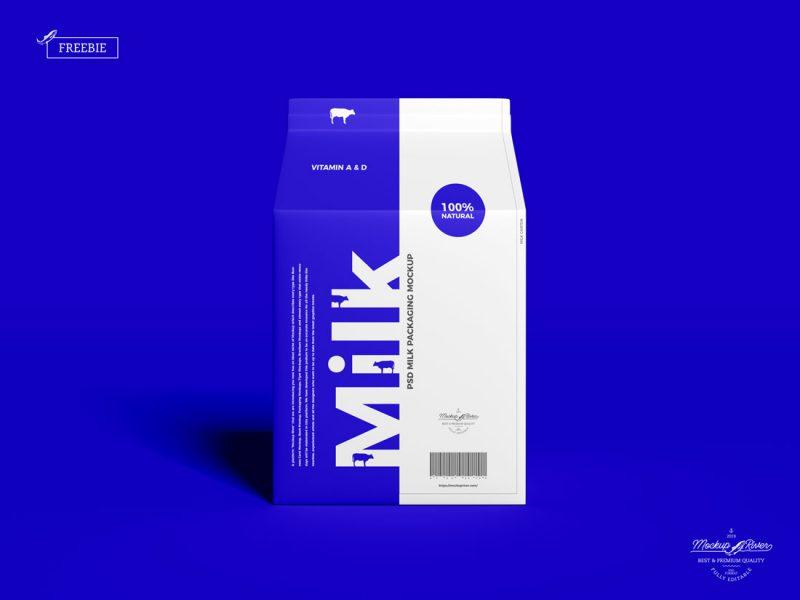 Carton Milk Packaging Free Mockup