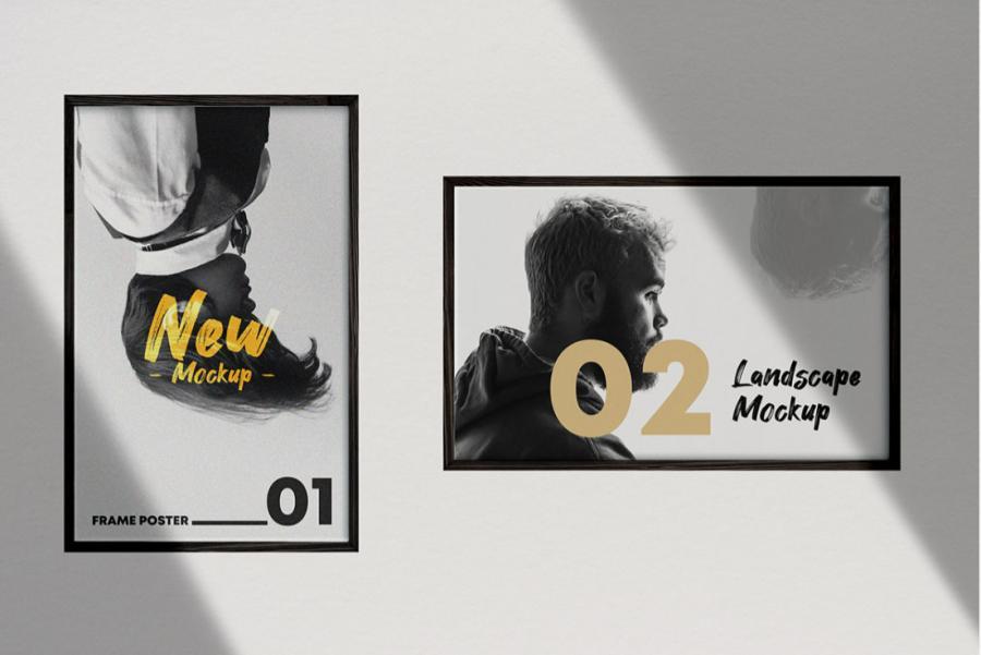Free 2 Poster Frames Mockup (PSD)