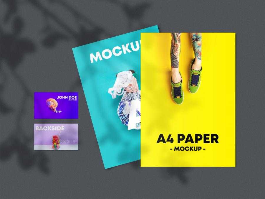 Free A4 Flyer & Business Card Mockup