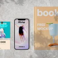 Free Book and Cards with iPhone 12 Mockups