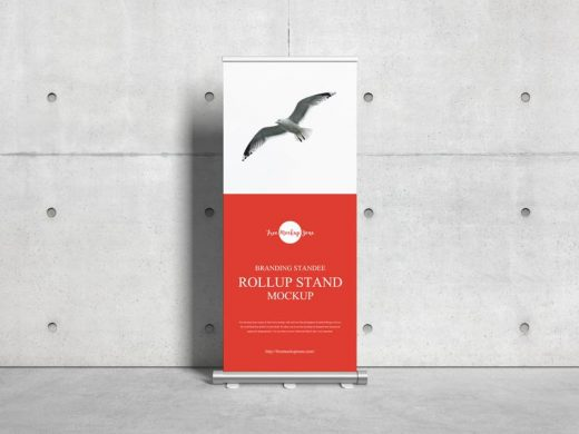 Free Branding Standee Roll Up Stand Mockup (PSD)