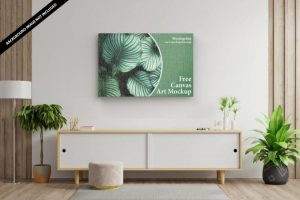 Free Canvas Art Mockup (PSD)