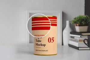Free Cylinder Paper Tube Mockup (PSD)