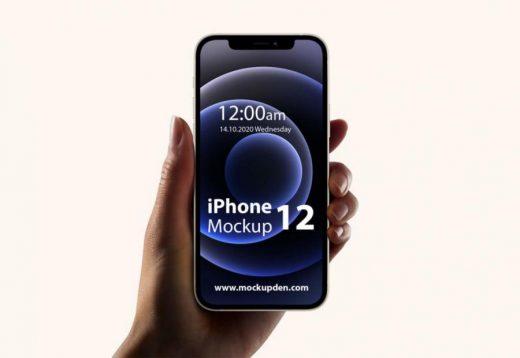 Free Hand Holding iPhone 12 Mockup