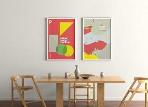 Free PSD Indoor Frame Poster Mockup