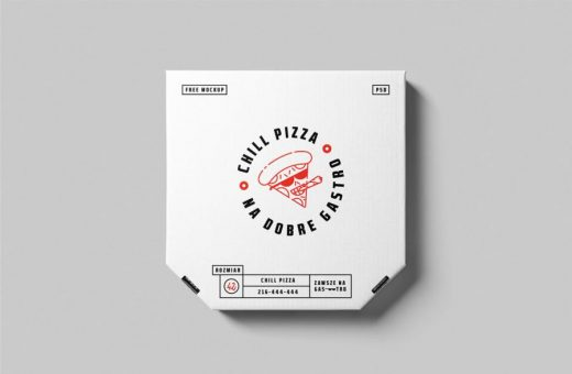 Free PSD Large Pizza Box Packaging Mockup