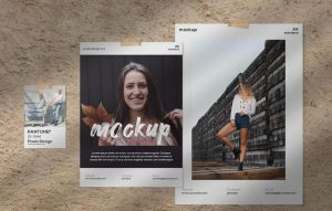 Free PSD Moodboard Papers Kit Mockup