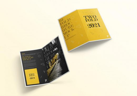Free PSD Two Fold Brochure Mockup