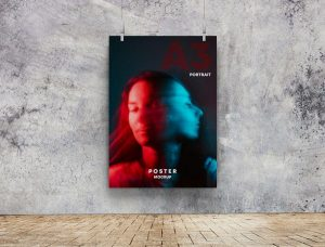 Free Poster on Wall PSD Mockup