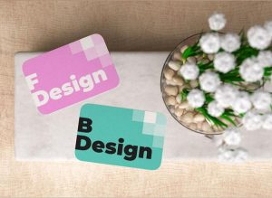 Free Rounded Corner Business Card Mockup