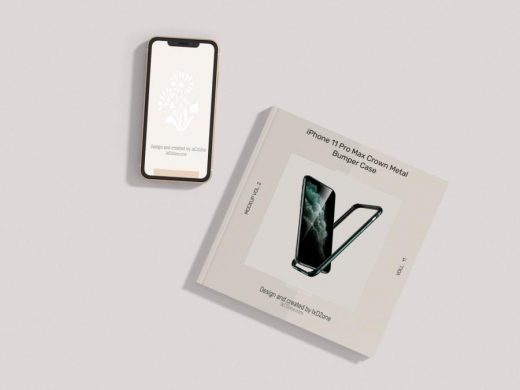 Free Smartphone With Square Booklet Mockup