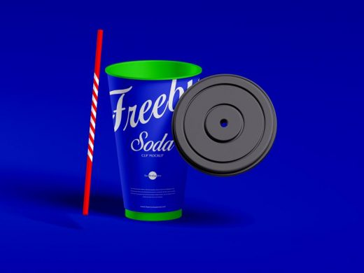 Free Straw Lid With Soda Cup Mockup