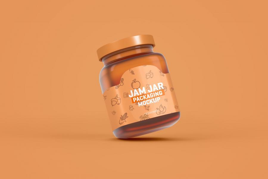 Glass Jam Jar Packaging Free PSD Mockup