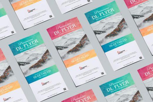 Grid Dl Flyer Free PSD Mockup