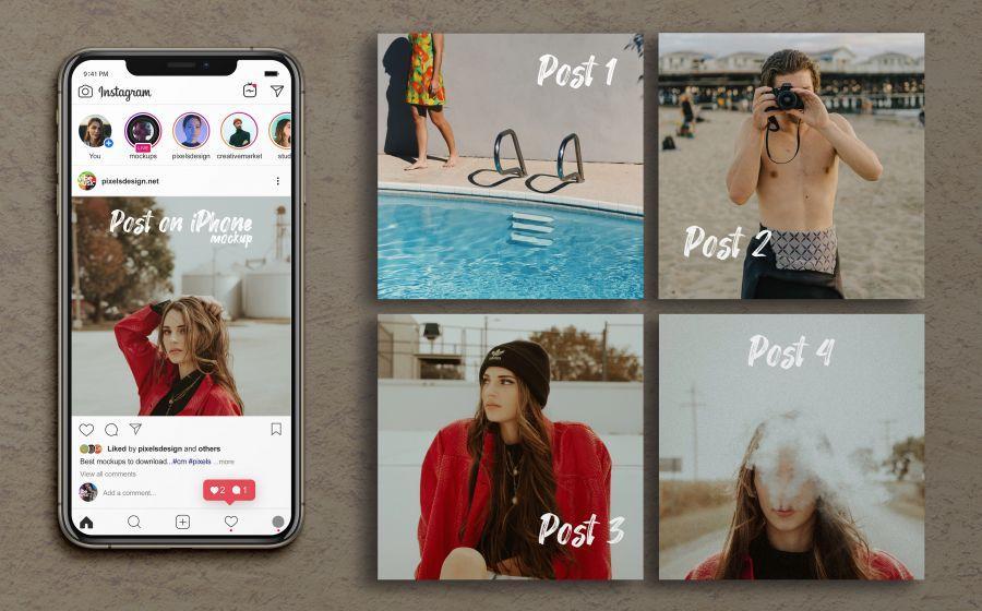 Instagram Grid Posts & iPhone XS Max Free Mockups