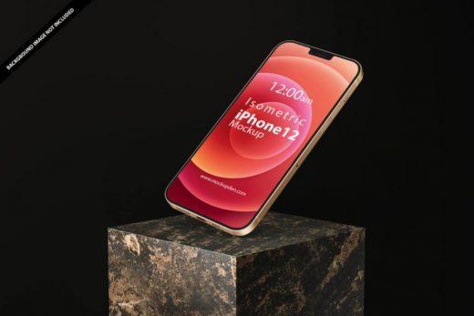 Isometric iPhone 12 Free PSD Mockup Template