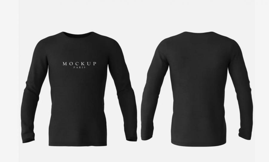 Long Sleeve T-Shirt Front & Back Mockup
