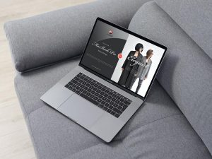 MacBook Pro Placing on Sofa Free Mockup
