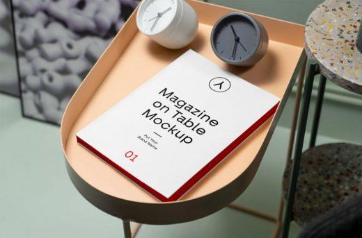 Magazine on Table Free PSD Mockup