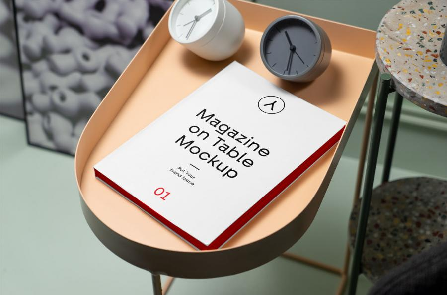 Magazine on Table Free PSD Mockup