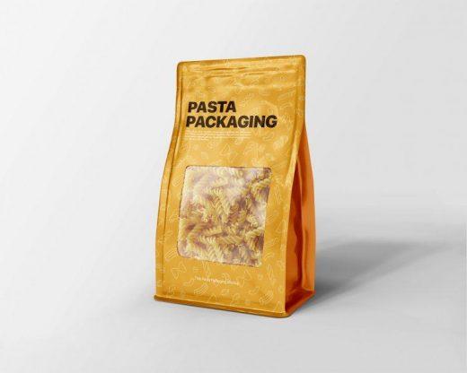 Pasta Package Flat Bottom Bag Free Mockup