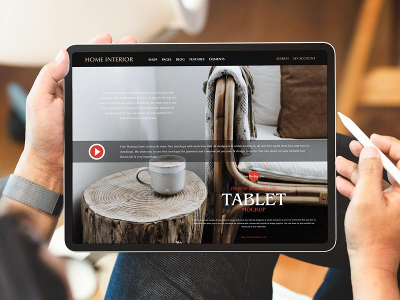 Person Working on Tablet Free PSD Mockup