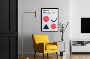 Poster in Living Room Free PSD Mockup
