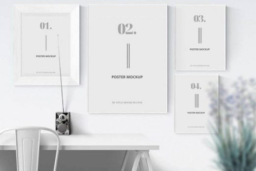 Posters with Shadow Free PSD Mockup