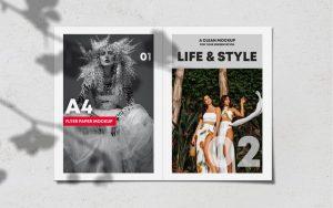 Realistic Opened Bi-Fold Brochure Free Mockup