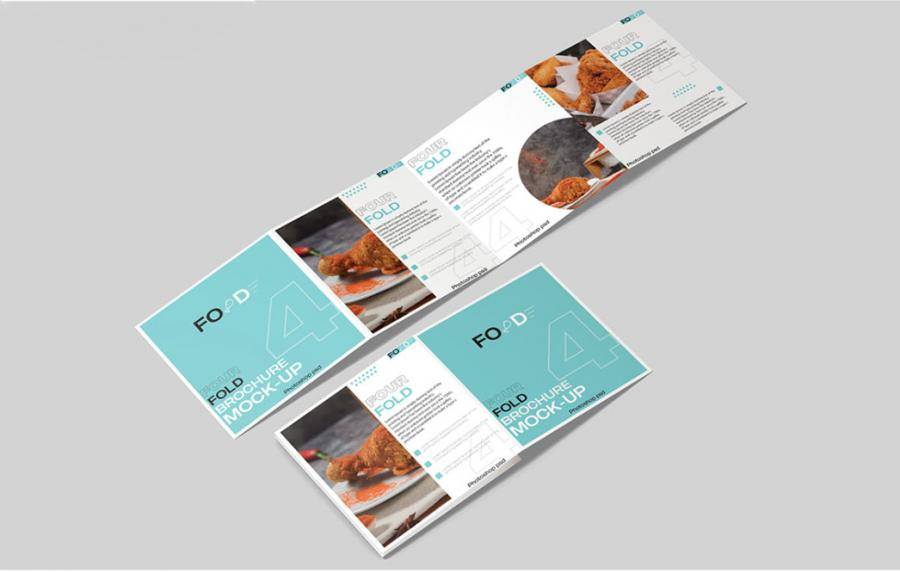 Square 4 - Fold Brochure Free Mockup (PSD)