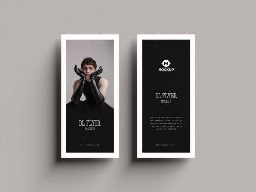 Top View Brand DL Flyer Free PSD Mockup