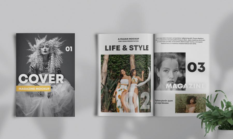 Magazine Showcase Free Mockup (PSD) Template