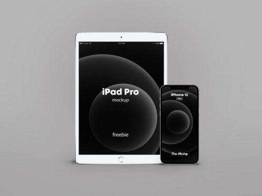 Free iPhone 12 Pro with iPad Pro Mockup (PSD)