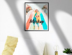 Free Photo Frame in Room Mockup (PSD)